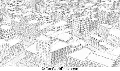 3d drawing city Top view Line art Blueprint Sketch town 4k