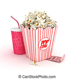3D drink and popcorn -isolated