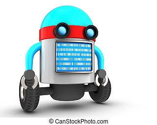 3d droid over white - 3d illustration of robot with blue...