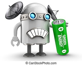 3d droid over white - 3d illustration of robot with with...