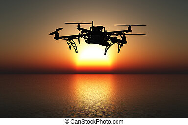 3D drone flying above a sunset sea - 3D render of a drone...