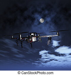 3D drone flying in a night sky - 3D render of a drone flying...
