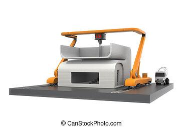 3d, Drucker, Und, Haus, Modell