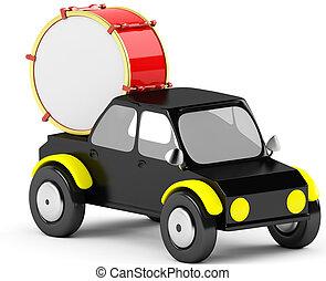 3D drum in a black car