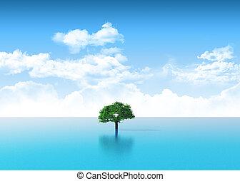 3d, drzewo, scena, ocean