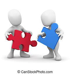 3d, duas pessoas, cooperar