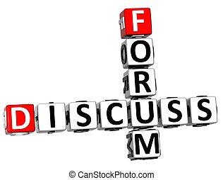 3d, dyskutować, forum, krzyżówka