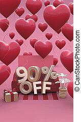 3d, dzień, 90, procent, chorągiew, -, space., dziewięćdziesiąt, od, illustration., kopia, list miłosny, sprzedaż, pionowy