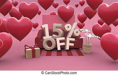 3d, dzień, piętnaście, procent, 15, -, od, illustration., list miłosny, sprzedaż