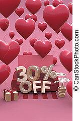 3d, dzień, procent, 30, chorągiew, -, trzydzieści, space., od, illustration., kopia, list miłosny, sprzedaż, pionowy