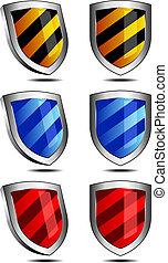3d, e, 2d, escudos