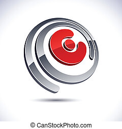 3D E letter icon.