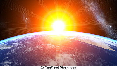 3d Earth Animation 26. Sunrise with shiny lighting effects, stars, clouds and atmosphere. High quality textures