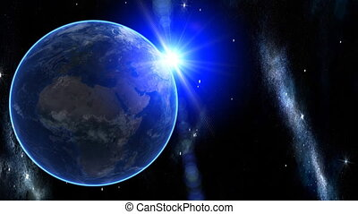 3d Earth Animation 30. Zooming through space over Europe. ...