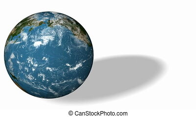 3d Earth Animation 31. Earth rotate on white background with...