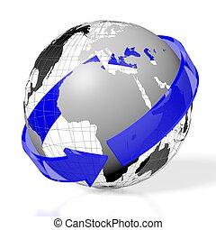 3D Earth, arrow concept