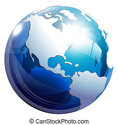 3d earth - drawing of beautiful blue earth in a white...