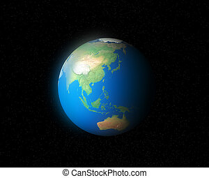 3d earth global southeast asia section in the glow star ...
