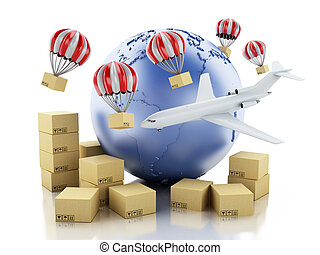 3d Earth globe and Cardboard boxes. Delivery concept.