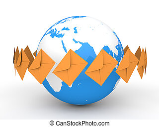 3d earth globe and envelopes
