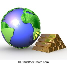 3d Earth globe and gold bars
