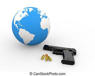 3d earth globe and handgun
