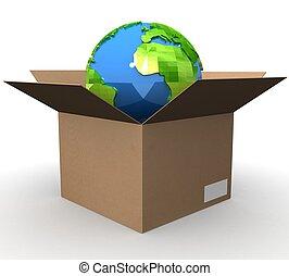 3d Earth globe in box