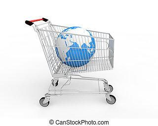 3d earth globe in shopping cart