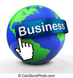 3d Earth globe on white business text