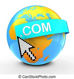 3d Earth globe over white background dot com text