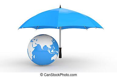 3d earth globe under umbrella