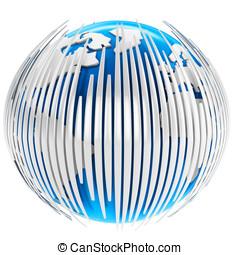 3d earth globe with bars