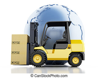 3d Earth globe with cardboard boxes. Delivery business concept.