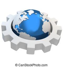 3d earth globe with gear