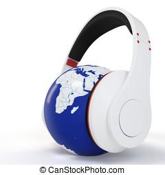 3d earth globe with  headphones