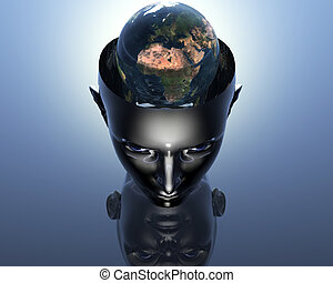 3D earth in 3D girl head