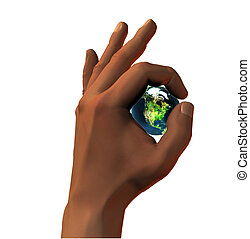 3D earth in 3D hand OK sign