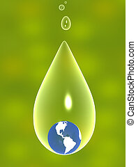 3d Earth in a transparent drop of water. Object over green