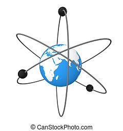 3d Earth in atom symbol