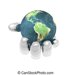 3D earth in bright hand isolated on a white