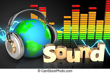 3d earth in headphones audio spectrum - 3d illustration of...