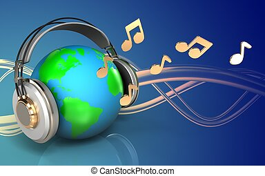 3d earth in headphones blank - 3d illustration of earth in...