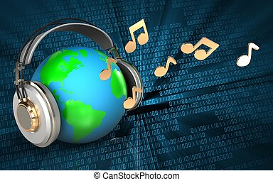 3d earth in headphones earth in headphones - 3d illustration...