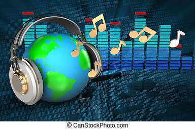 3d earth in headphones spectrum - 3d illustration of earth...
