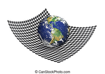 A 3D illustration where the entire earth is resting upon a matrix of circular shapes. Earth photo courtesy of NASA.