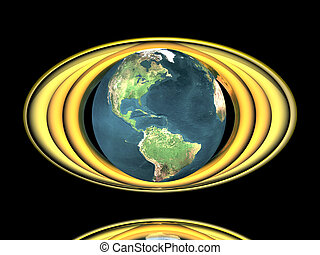 earth model with golden rings
