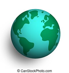 3D Earth planet globe on isolated background