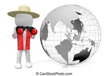 3D Earth, tourist with binoculars