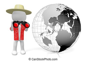 3D Earth, tourist with binoculars