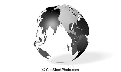 3D Earth with all continents - 3D animation/ 3D rendering -...